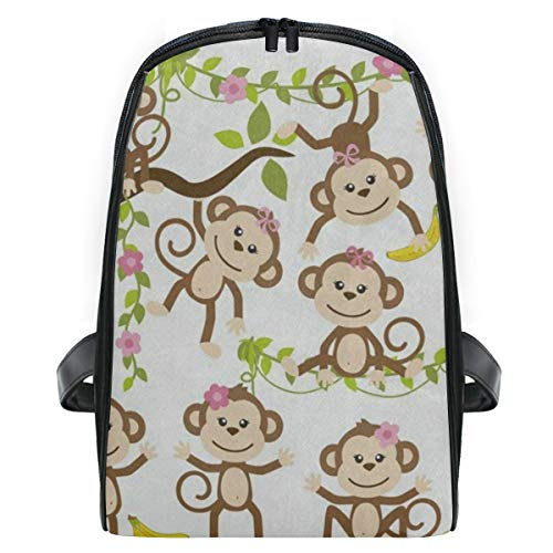 Kid's Backpack Funny Monkey Tree With Banana Personalized Shoulders Bag Classic Lightweight Daypack for Girls/Boys