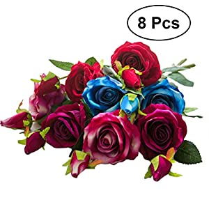 8Pcs Artificial Silk Rose Flower Real Touch Floral Decorations DIY for Home Office Wedding Bouquet Birthday Hotel Garden Party 120