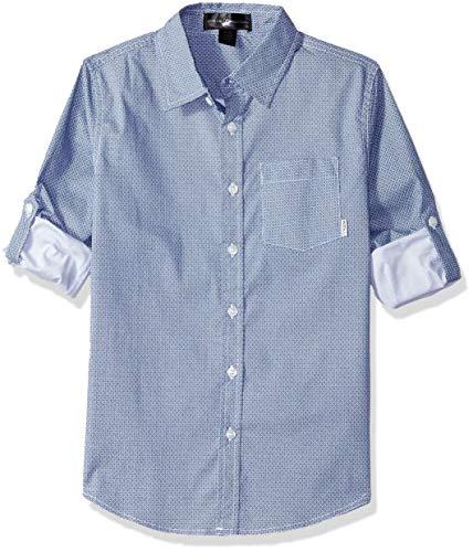 Beverly Hills Polo Club Boys' Big Long Sleeve Shirt, Indigo Multi Print, 8