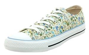 Difyou Women's Sweet Floral Print Lace-up Canvas Shoes Light Blue 5 B(M) US