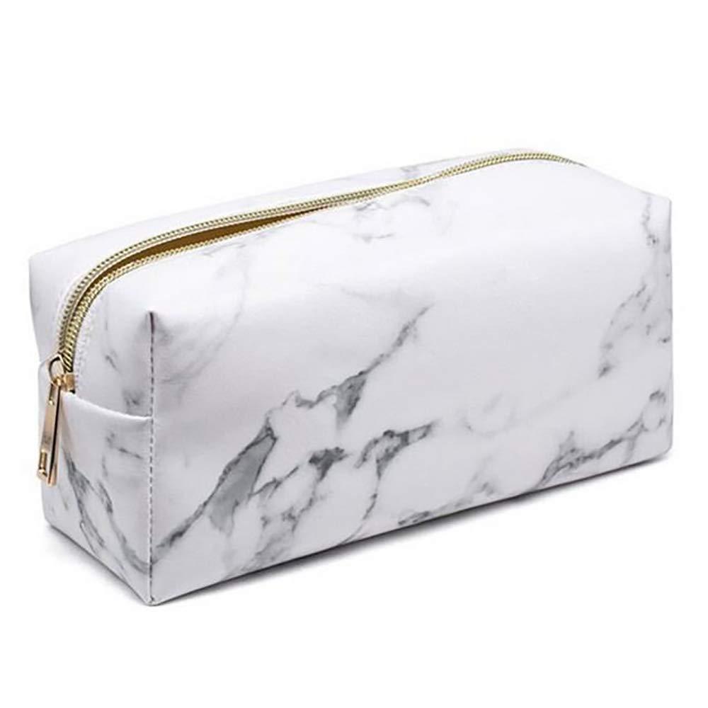 Forepin Make-up Tasche Kosmetiktasche Reise Schminktasche Groß Kapazität Portable PU Wasserdicht mit Marmor Textur Reißverschluss für Teenager Mädchen Frauen Dame