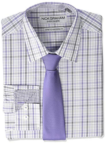 - Nick Graham Men's Stretch Modern Fit Mini Plaid Dress Shirt and Solid Tie Set, Purple, L-L 16-16.5/34-35