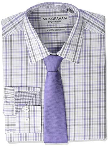 Nick Graham Men's Stretch Modern Fit Mini Plaid Dress Shirt and Solid Tie Set, Purple, L-L 16-16.5/34-35 ()