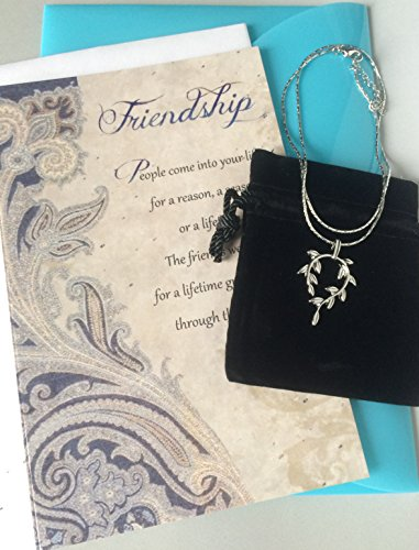 Smiling Wisdom - Vine Leaf 5x7 Greeting Card Gift Set - Friendship Vine Leaf Necklace - Reason Season Lifetime Friendship - Unique Appreciation Gift Set For Best Friend Card - Platinum Plated