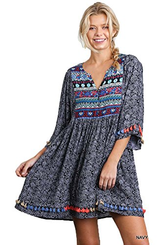 [Umgee Women's Bohemian Tunic or Dress (M, Navy Blue)] (Hippie Dress)
