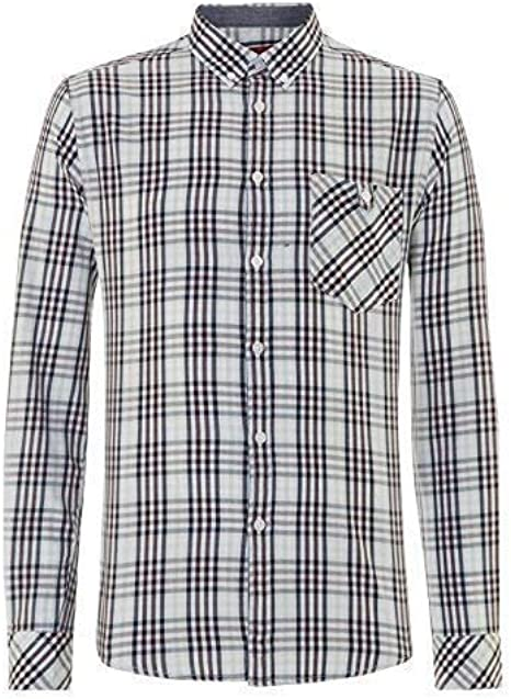 Merc Hombre London Cuadros Lincoln Botón Manga Larga Camisa - Cielo - XXL: Amazon.es: Ropa y accesorios
