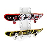 Source One Deluxe Tier Skateboard Storage Display Rack - Invisible Clear Acrylic Wall Mount Display (4 Pack, 4 Tier)