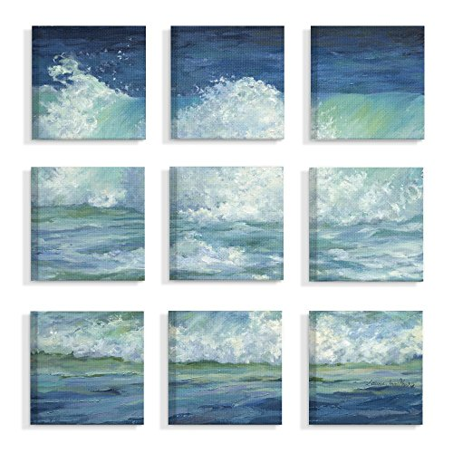 The Stupell Home Decor Collection Crashing Waves Ocean Blue NAD Green Water Painting Stretched Canvas Wall Art, Multi/Color made in New England