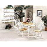 5pc White & Natural Finish Wood Dining Table +4 Windsor Chair Set