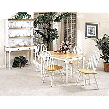Amazon.com - 5pc White & Natural Finish Wood Dining Table +4 ...