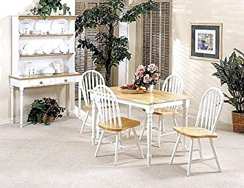 5pc White Natural Finish Wood Dining Table 4 Windsor Chair Set