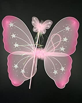 215f9aab2aca PINK    Star Fairy Wings   Wand Set by letechest (TM)  Amazon.co.uk ...