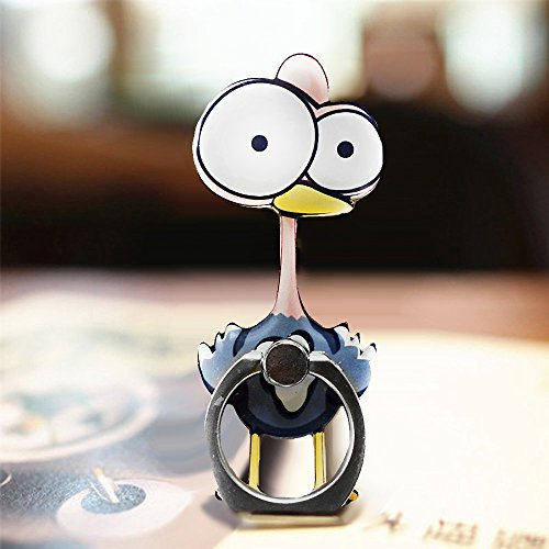 Cell Phone Finger Ring Holder Cute Animal Smartphone Stand 360 Swivel For Iphone, Ipad, Samsung HTC Nokia Smartphones, Tablet (Ostrich)
