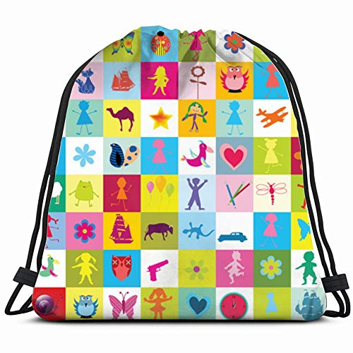toys kids kindergarten illustrations clip art Drawstring Backpack Gym Sack Lightweight Bag Water Resistant Gym Backpack for Women&Men for Sports,Travelling,Hiking,Camping,Shopping Yoga
