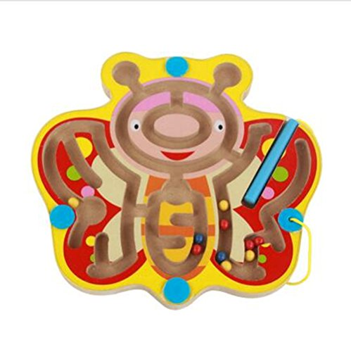 - Elloapic Mini Round Wooden Pen Driving Bead Maze Puzzle Interactive Maze Beads Maze on Board Game Eduactional Handcraft Toys Butterfly
