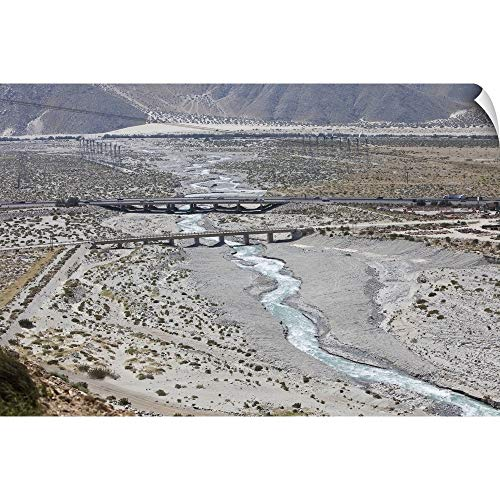 CANVAS ON DEMAND Wall Peel Wall Art Print Entitled The Whitewater River Flows Under The Interstate Outside of Palm Springs, CA 18