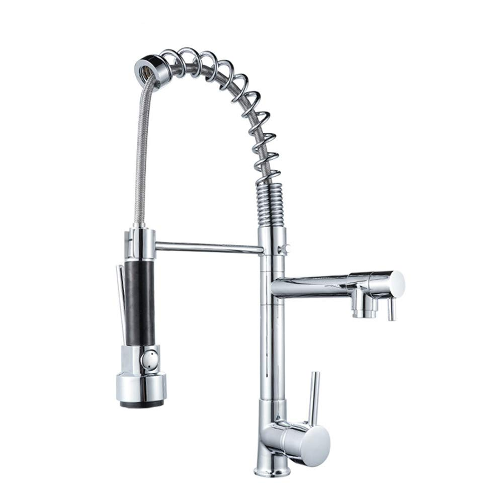 Single Handle Lever Kitchen Faucet Spring Brushed Nickel Kitchen Sink Faucet with Sprayer Pull Out Mordern Commercial Kitchen Sink Mixer Tap