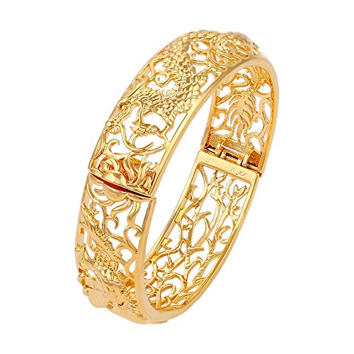 Skyjewelry Thick Dragon Phoenix Bangle 18k Yellow Gold Plated Womens Bangle Bracelet Dia 6cm ()
