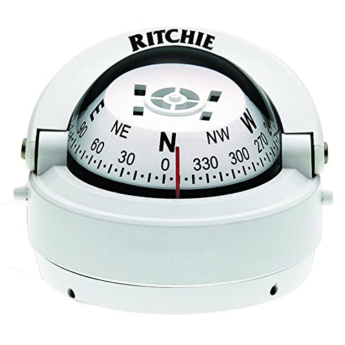 (Ritchie S-53W Explorer Compass - Surface Mount - White)