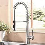 Hotis Modern Spring 360 degree Swivel Pull Out Single Handle Single Lever Stainless Steel Pull Down Prep Sprayer Kitchen Sink Faucet, Brushed Nickel