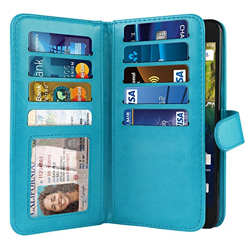 NEXTKIN Google Nexus 6P Case, Leather Dual Wallet Folio TPU Cover, 2 Large Pockets Double flap Privacy, Multi Card Slots Snap Button Strap For Huawei Google Nexus 6P - New Teal