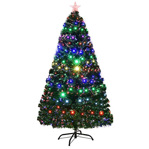 Goplus Artificial Christmas Tree Pre-Lit Optical Fiber Tree 8 Flash Modes W/UL Certified Multicolored LED Lights & Metal Stand (7 - Tree Optic Christmas Fiber