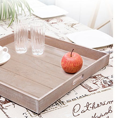 Large Shabby Chic Square Wood Serving Tray For Breakfast