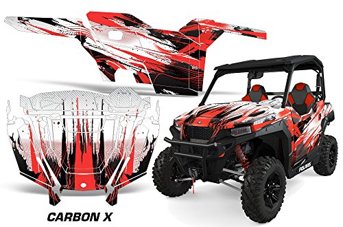 AMRRACING Polaris General 2016+ Full Custom UTV Graphics Decal Kit - Carbon X Red ()