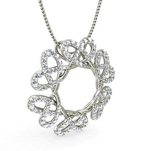 18 K Or Blanc 1,02 CT TW Round-cut-diamond (IJ | SI) Amour Pendentif