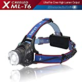 3-Modes Bright LED Headlamp Headlight Flashlight 2 x18650 Rechargeable batteries High Power XML-T6 CREE Led Chip Lumen Lamp Outdoor Portable Water Resistant Camping Hiking Riding Fishing Hunting etc