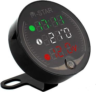 Kkmoon Dc 6v 30v 3 In 1 Motorrad Atv Digital Voltmeter Zeitschaltuhr Thermometer Spannungsprüfer Ip67 Wasserdichter Led Display Messgerät Für Motorrad Auto