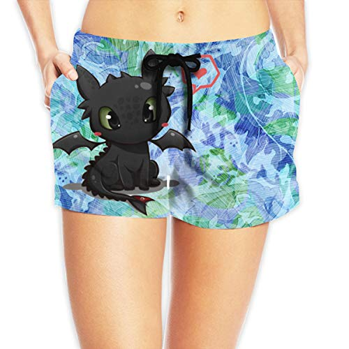 CRXSM Toothless The Dragon Customized Stylish Drawstring Closure Beach Shorts for Womans M