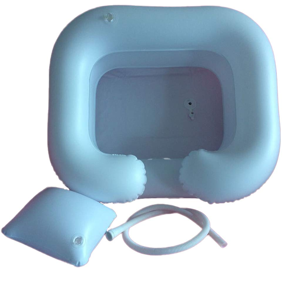 AHIN Shampoing Portable,Aide Les Cheveux Propres Facilement Portable et Facile /à Plier Lavabo carr/é Gonflable en PVC,Convient pour Personnes /âg/ées bless/é,clou/é au lit,handicap/és,etc.