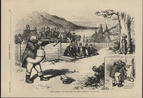 Apple of Discord Geneva Tribunal Nast Uncle Sam 1872 antique wood engraved print -