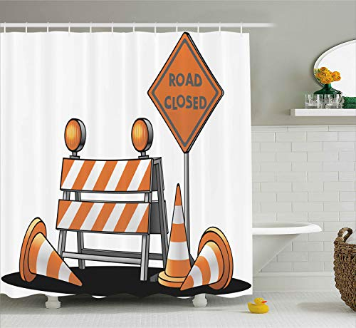 Ambesonne Logo Decor Shower Curtain, Road Closed Sign Traffic Warning Symbol with Blocker Stop Illustration, Fabric Bathroom Decor Set with Hooks, 75 Inches Long, Orange Grey