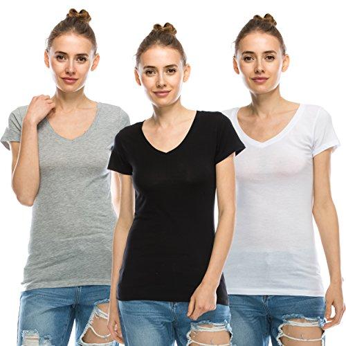 [NOLABEL Women's Basic Short Sleeve V Neck Stretch Cotton Top T shirts Tee 3Pack (Gray+Black+White) XLarge] (Model Womens Cap Sleeve T-shirt)