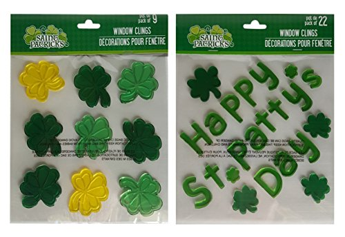 St Patrick's Day Window Decorations Gel Clings Set of Two Sheets Total 31 Stickers (Green Pot O Gold Glasses)