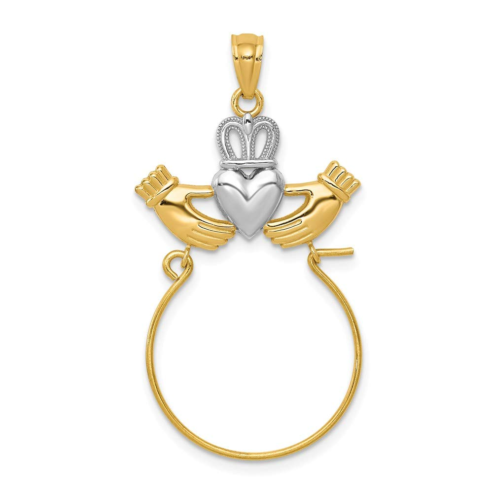 14k & Rhodium Claddagh Charm Holder