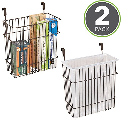 mDesign Under Cabinet Wall Mount Kitchen Storage Organizer Basket for Cleaning Supplies, Tin Foil, Plastic Wrap, Trash, Recycling - Pack of 2, Bronze (Tin Kitchen Storage)