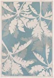 """Couristan Monaco Coastal Floral Runner Rug, 2'3″ x 7'10"""", Ivory/Turquoise For Sale"""