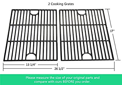 VICOOL HyG119B Porcelain Coated Cast Iron Cooking Grid Grate Replacement for Nexgrill 720-0830H, 720-0670A, 720-0670C, Kenmore, Uniflame, Kmart, Uberhaus Gas Grill Models, Set of 2