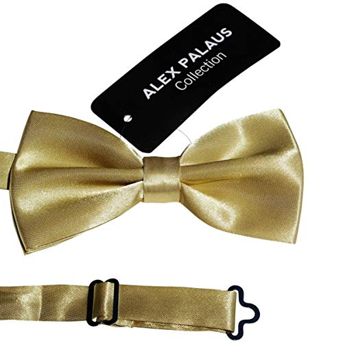 Stylish Designer Bow Ties - Pre Tied, Adjustable Unisex Bowtie for Men, Women, Boys and Girls by Alex Palaus Collection (TM) (Golden) -