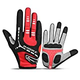 INBIKE Men's Padded Full Finger Gloves for Workout Gym Fitness Outdoor Red X-Large