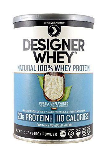 Designer Protein 100% Premium Whey Protein Powder, Purely Unflavored, 12-Ounce Canister (Pack of 2) For Sale