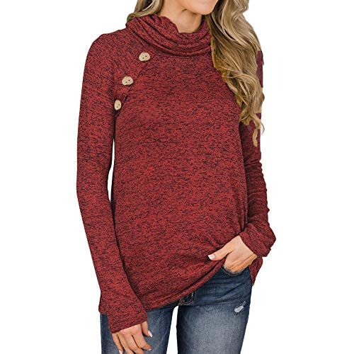 - DEATU Sale Women Casual Comfy Cowl Neck Design Long Sleeve Top Sweatshirt with Buttons (Red,Small