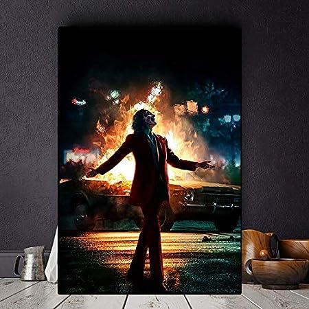 The Joker Movie Poster Canvas Prints Joaquin Phoenix Cuadros Pintura al óleo sobre póster Imagen de Arte de Pared para Sala de Estar Decoración para el hogar 60X80cm Sin Marco