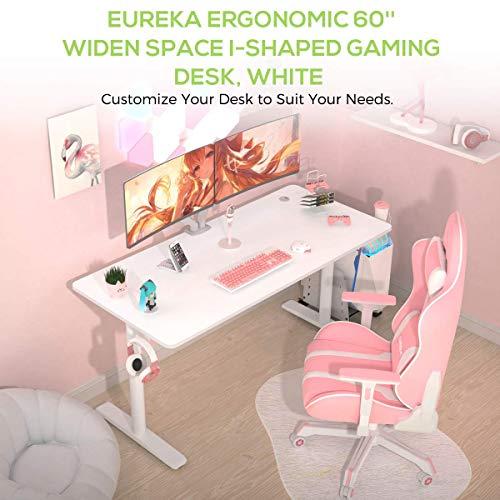 EUREKA ERGONOMIC Schreibtisch Modern Computertisch PC Tisch mit Mauspad für Home Office Laptop und pc (152 × 70CM, Weiß)