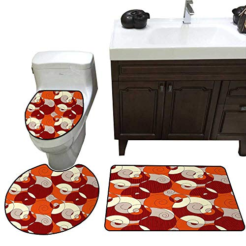 John Taylor Abstract 3 Pc Bath Rug Set Abstract Bold Spiral Motifs Circled Modern Pattern with Stripe Details Rug Contour, Mat and Toilet Lid Cover Orange Ruby Ivory
