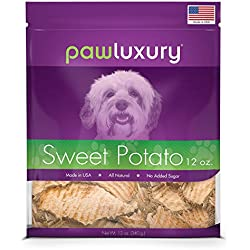 USA Sweet Potato Dog Treats by Pawluxury (12 oz.) Made in America