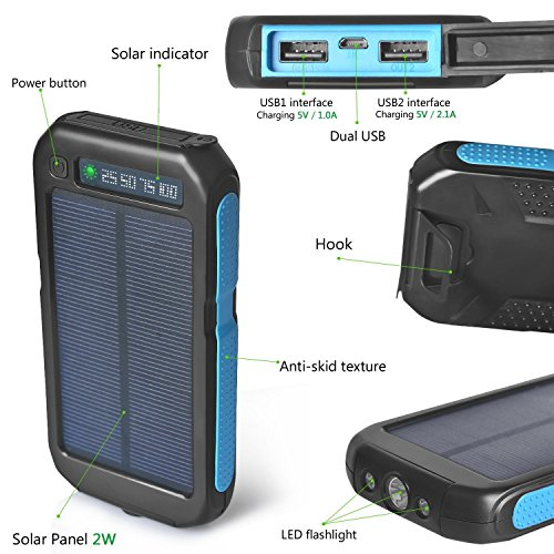 Case Safety 1 x 300000mAh Sport Solar Charger water-proof and dust-proof Li-Polymer Battery Black+Blue